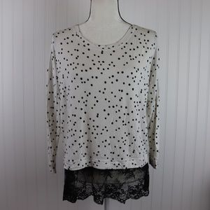 Kensie Tops - Kensie Polka Dot Lace Hem Top Size Medium